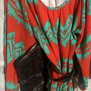R.Rouge Cold Shoulder Orange/Turquoise TribalTunic